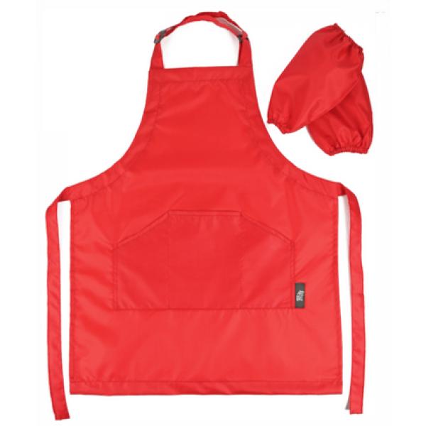 Фартух захисний для дитячої творчості (червоний фартук 55 х 44 см, і нарукавники 25 х 17 см)
