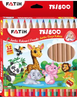 Кольорові олівці Fatih Triboo Jumbo великі 12 кольорів (5,4 мм) + точилка  - (33426)