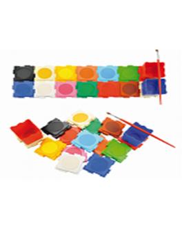 Набір акварельної фарби сухої ,великий, Пазл-головоломка 12 кольорів + 3 стакани - (50045)
