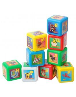 Кубики дитячі кольорові РОСІЙСЬКА АБЕТКА (пластик, 9шт.)