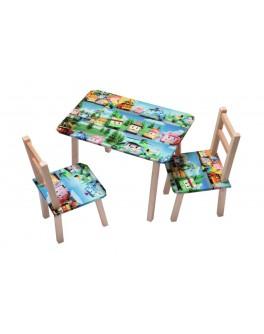 Столик + 2 стільчика ТИПУ РОБОМАШИНКИ (600*460)