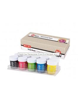 Фарба Гуаш перламутрова 10 кольорів по 25ml  в баночках - (RG103-10P)